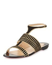 Very Sekmet Flat T-Strap Red Sole Sandal, Black