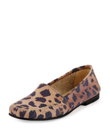 Speed Printed Suede Moccasin, Leopard