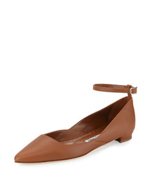 Rima Ankle-Strap Leather Flat, Luggage
