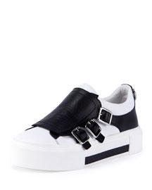 Leather Monk-Strap Sneaker, Black/White