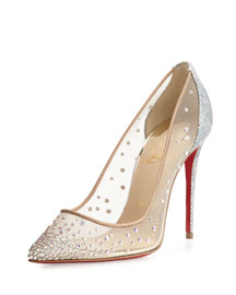 Follies Strass 100mm Red Sole Pump, Multi