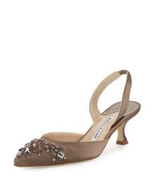 Iliaric Jeweled Satin Halter Pump, Taupe