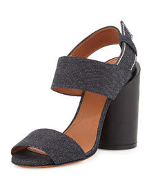 Edgy Denim Cylinder-Heel Sandal, Blue