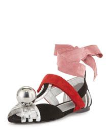 Flat Ball Suede Ballerina Flat, Black/Silver (Nero/Argento)