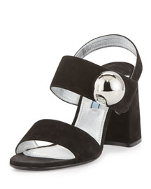 Suede Ornament Block-Heel Sandal, Black (Nero)