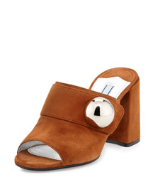 Suede Chunky-Heel Slide Sandal, Palissandro
