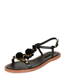 Flat Leather Pompom Sandal, Black