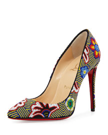 Miss Taos Beaded 100mm Red Sole Pump, Black/Multi