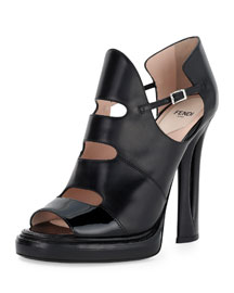 Cutout Leather Ankle Boot, Black
