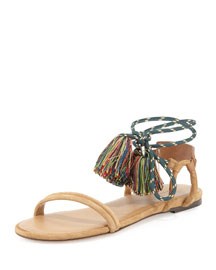 Astrid Flat Ankle-Tie Sandal, Camel