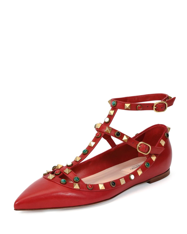 Valentino Rockstud Cabochon Leather Flat, Red, Size: 42.5B/12.5B