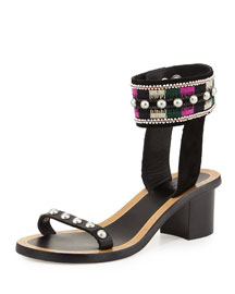 Joss Embroidered Block-Heel Sandal, Black