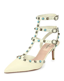 Rockstud Cabochon Leather 65mm Pump, Light Ivory