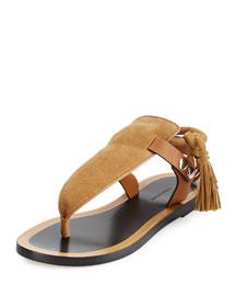 Jemma Flat Suede Fringe Sandal, Camel
