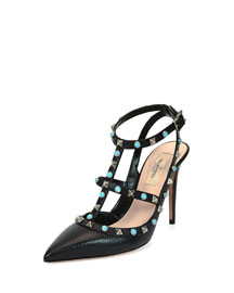 Rockstud Cabochon Leather Pump, Black (Nero)