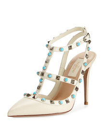 Rockstud Cabochon Leather 100mm Pump, Light Ivory