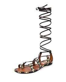 Hand-Painted Leather Gladiator Sandal, Black/Ivory