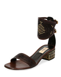 Studded Vachetta Ankle-Cuff Sandal, Cacao/Black (Cacao/Nero)