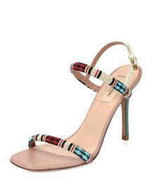 Glam Beads Two-Strap Sandal, Hazelnut