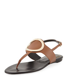 Round Buckle Leather Flat Sandal, Black