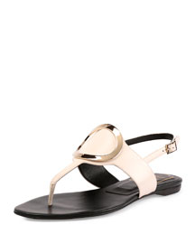 Round-Buckle Leather Flat Thong Sandal, White