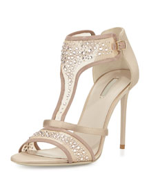 Crystal-Embellished Evening Sandal, Nude