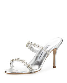 Diora Crystal Illusion Slide Sandal, Silver