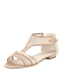 Crystal-Embellished T-Strap Flat Sandal, Nude/Gold