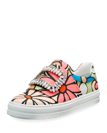 Strass Buckle Floral-Print Canvas Slip-On Sneaker