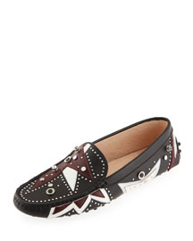 Embellished Gommini Patchwork Moccasin, Black/Multi