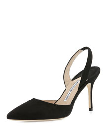 Carolyne 90mm Suede Halter Pump, Black