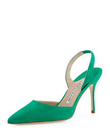 Carolyne 90mm Suede Halter Pump, Green