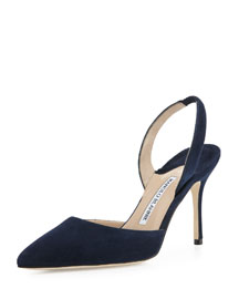 Carolyne 90mm Suede Halter Pump, Navy