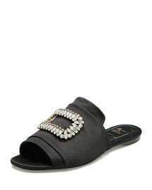 Tiffany Strass-Buckle Satin Slide Sandal, Black