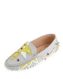 Embellished Gommini Patchwork Moccasin, Gray/Multi