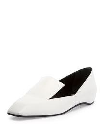 Polly Square-Toe Leather Loafer, White