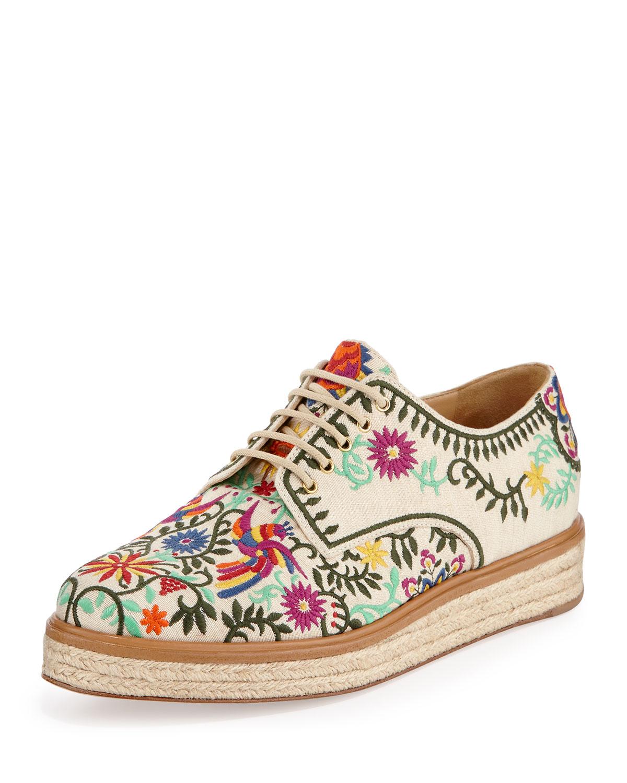Sergio Rossi Embroidered Canvas Espadrille Sneaker, White, Women's, Size: 38.0B/8.0B