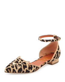 Brogue Kitty Calf Hair d'Orsay Flat, Leopard/Natural