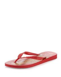 Bruce Flat Rubber Flip Flop Sandal, Red