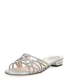 Crystal-Embellished Cutout Slide Sandal, Silver