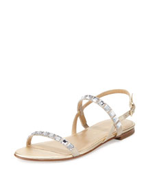 Trailmix Studded Suede Flat Sandal, Frosting