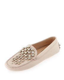 Beaded Leather Gommini Loafer, Blush