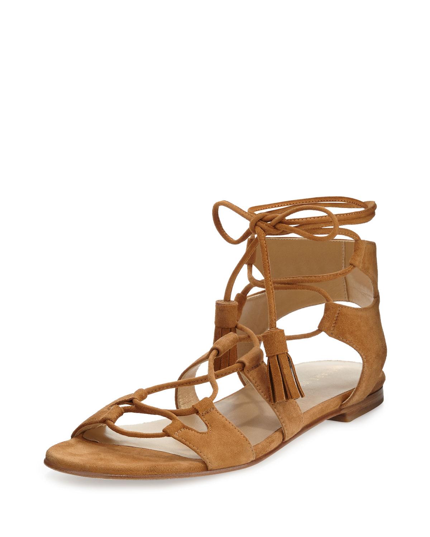Stuart Weitzman Romanflat Suede Gladiator Flat Sandal, , Women's, Size: 41.0B/11.0B Brown (Camel)
