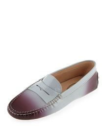 Degrade Patent Leather Gommini Driving Moccasin, Burgundy