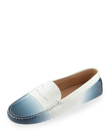 Degrade Patent Leather Gommini Driving Moccasin, Navy