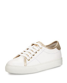 Two-Tone Leather Lace-Up Sneaker, White/Gold