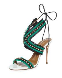 Latin Lover Studded Fringe Sandal, Black/Watermelon