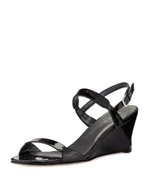 Nolo Patent Demi-Wedge Sandal, Black