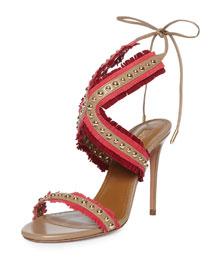 Latin Lover Studded Fringe Sandal, Biscotto/Pomegranate