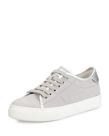 Leather Lace-Up Sneaker, Gray/Silver